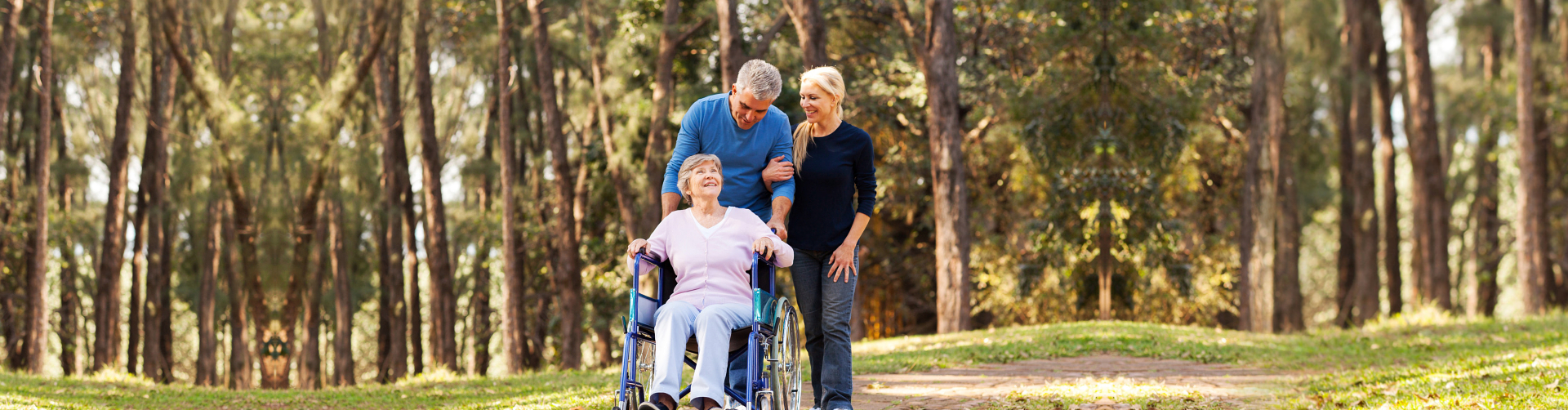 senior couple and beautiful woman strolling